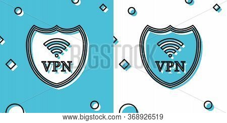 Shield With Vpn And Wifi Wireless Internet Network Symbol Icon On Blue And White Background. Vpn Pro