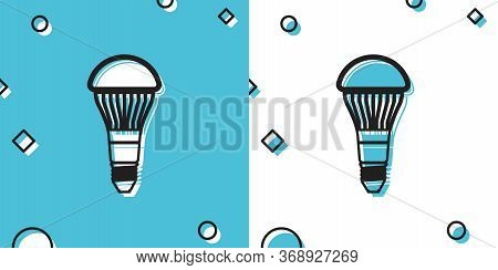 Black Led Light Bulb Icon Isolated On Blue And White Background. Economical Led Illuminated Lightbul