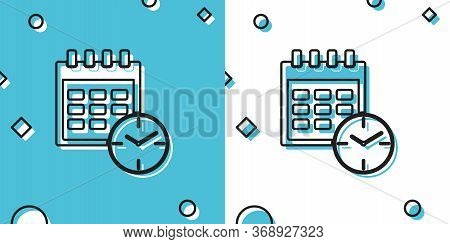 Black Calendar And Clock Icon On Blue And White Background. Schedule, Appointment, Organizer, Timesh