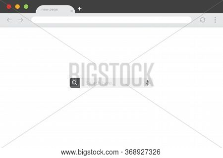 Browser Window With Search Bar In A Flat Design