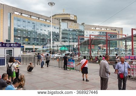 Hohhot, Inner Mongolia Province / China - July 30th 2016: Hohhot (huhehaote) Railway Station In Hohh