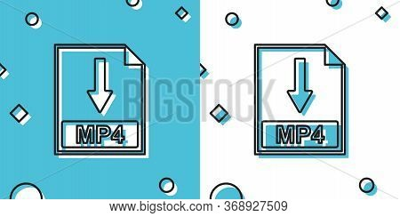 Black Mp4 File Document Icon. Download Mp4 Button Icon Isolated On Blue And White Background. Random