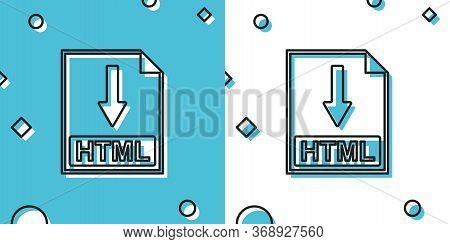 Black Html File Document Icon. Download Html Button Icon Isolated On Blue And White Background. Rand