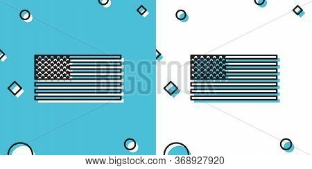 Black American Flag Icon Isolated On Blue And White Background. Flag Of Usa. Random Dynamic Shapes.