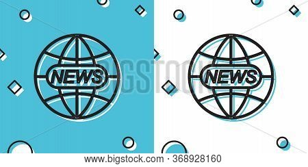 Black World And Global News Concept Icon Isolated On Blue And White Background. World Globe Symbol.