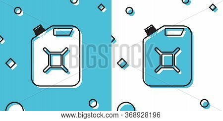 Black Canister For Gasoline Icon Isolated On Blue And White Background. Diesel Gas Icon. Random Dyna