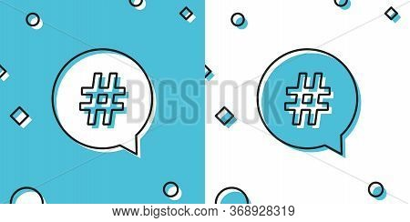 Black Hashtag In Circle Icon Isolated On Blue And White Background. Social Media Symbol, Concept Of