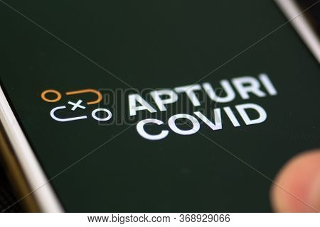 Vilnius, Lithuania - May 31 2020: Stop Covid, Apturi Covid, Official Covid-19 Or Coronavirus Contact