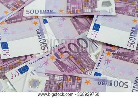 Banknotes Of Five Hundred And 500 Euros Are Scattered In A Chaotic Manner. European Blank For Design