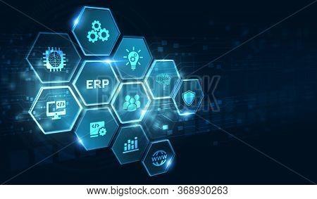 Business, Technology, Internet And Network Concept. Enterprise Resource Planning Erp Concept.3d Illu
