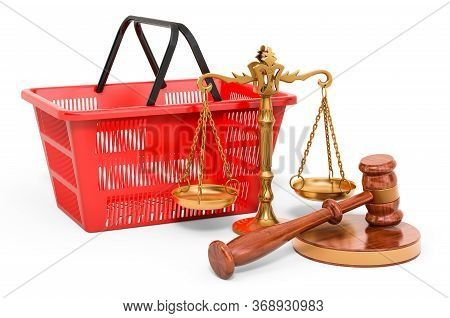 Consumer Protection Concept. Shopping Basket With Wooden Gavel And Scales Of Justice. 3d Rendering I