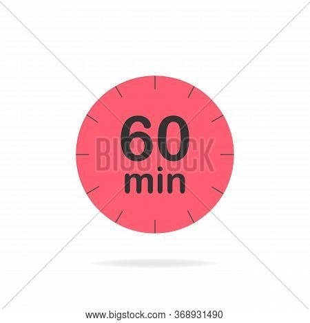 60 Minutes Timer. Stopwatch Symbol In Flat Style. Editable Isolated Vector Illustration.