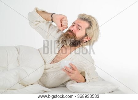Morning Routine. Morning And Wake Up. Awaking. Man Drink Coffee In Bed. Breakfast In Bed. Bearded Ma