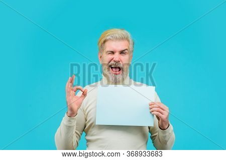Sale. Discount. Advertising Banner. Man With Blank Board. Man Shows Sign Okay. Space For Your Text.