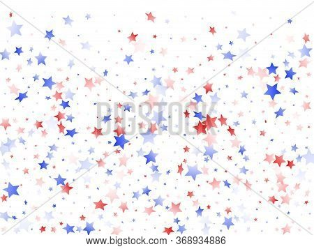 American Patriot Day Stars Background. Holiday Confetti In Usa Flag Colors For Patriot Day.  Cool Re