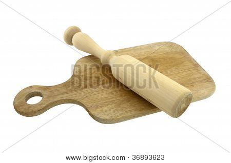 Rolling Pin On Cutting Board