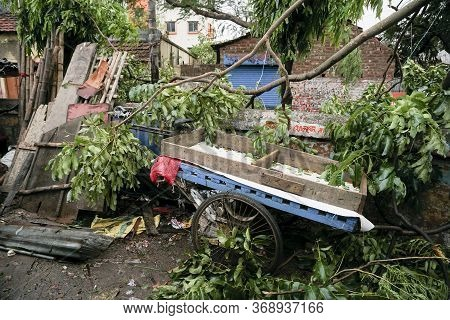 Howrah, West Bengal, India - 21st May 2020 : Remains Of A Devastated Shop, Destroyed By Super Cyclon