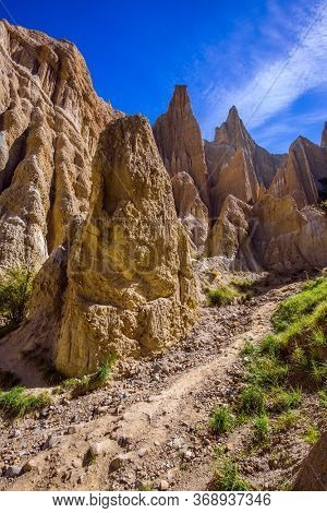 Colossal clay peaked outliers - Clay Cliffs in the hills separated by narrow ravines.  South Island. New Zealand. Fabulous faraway country. The concept of exotic, extreme, natural and photo tourism