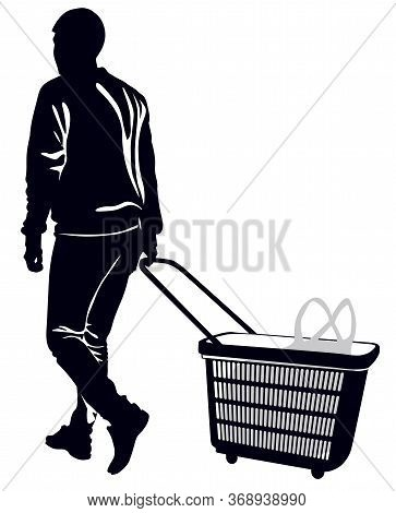 Silhouette Of A Man With A Grocery Cart On Casters - Vector Illustration