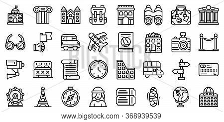 Sightseeing Icons Set. Outline Set Of Sightseeing Vector Icons For Web Design Isolated On White Back