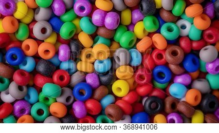Beads Texture Background. Colorful Round Small Beads, Full Frame Shot. 16:9 Panoramic Format