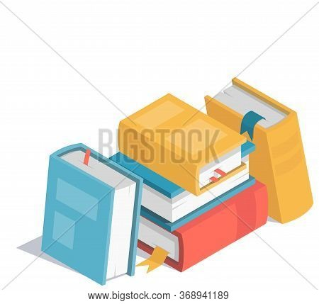 Colorful Isometric Book Icon. Stock Vector. Books Pile Illustration On White Background.