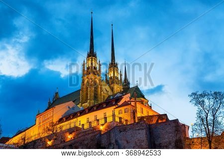 Cathedral Of St Peter And Paul In Brno, Moravia, Czech Republic During Sunset Twilight. Famous Landm