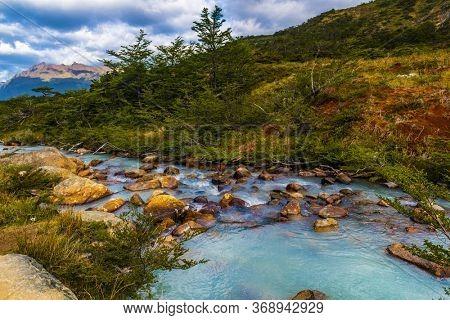 Beautiful picture of brook on a trail to Laguna Esmeralda near Ushuaia in Tierra del Fuego, Argentina