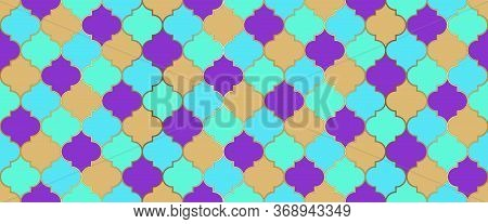 Ramadan Kareem Islam Background. Moroccan Seamless Mosaic Texture. Moroccan Seamless Ornament Persia