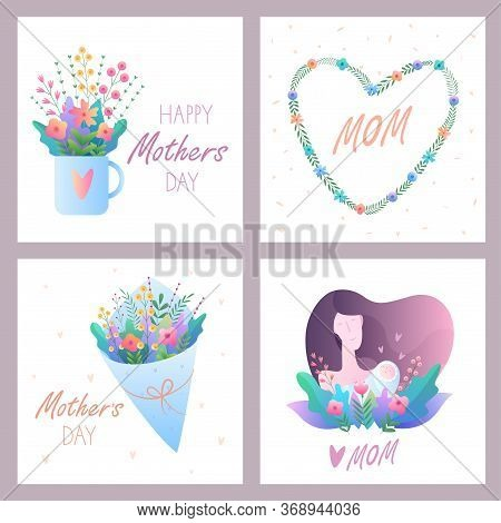 Mother's Day.set Of Greeting Cards.vector Illustration With Flowers, Hearts, Mom And Baby. For Postc