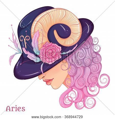 Zodiac. Vector Illustration Of The Astrological Sign Of Aries As A Beautiful Fashion Girl In Hat. Si
