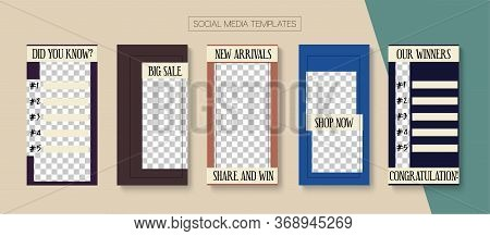 Modern Stories Vector Background. Online Shop Graphic Invitation Apps. Blogger Hipster Concept, Soci