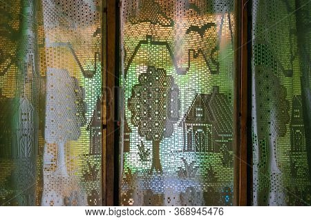 Vintage White Openwork Transparent Curtains With Houses, Trees, Plants, Flowers, Birds, Clouds Patte