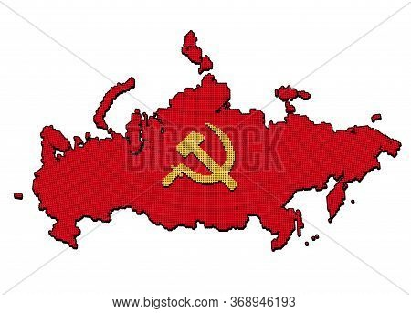 Stylized Ussr Map With Hammer And Sickle, Communist Russia Symbol. Pixel Dot Style Pattern. Isolated