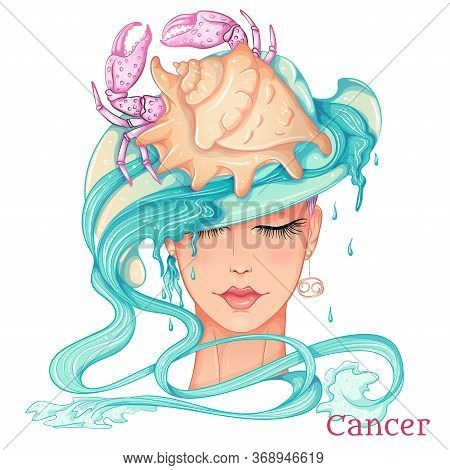 Zodiac. Vector Illustration Of The Astrological Sign Of Cancer As A Beautiful Fashion Girl In Hat. S