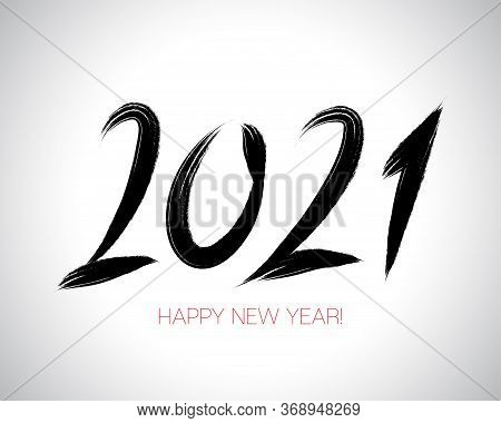 2021 Brushstroke Paint Banner. Happy New Year Elegant Business Background. Stylish Happy New Year Ty