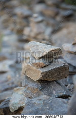Apacheta Or Stone Stack In The Colca Canyon In Arequipa, Peru