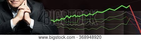 Smart Politician Or Businessman With Crude Oil Barrels On Black Background. Crude Oil And Petroleum