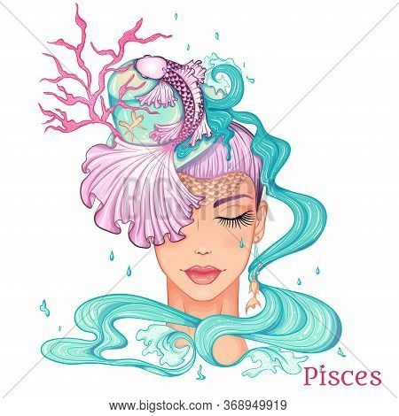 Zodiac. Vector Illustration Of The Astrological Sign Of Pisces As A Beautiful Fashion Girl In Hat. S