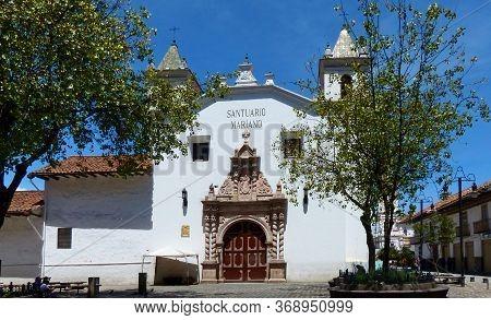 Unesco World Heritage Site. Square Of Flower Market And Church Santuario Mariano Del Carmen De La As