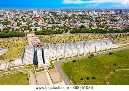 Santo Domingo, Dominican Republic - March, 2020: Aerial Drone View Of Famous Christopher Columbus Li