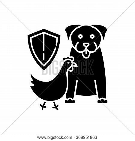 Wildlife Protection Black Glyph Icon. Rescue Domestic Animal. Shelter Campaign For Pets. Center For