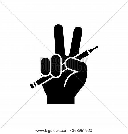 Freedom Of Press Black Glyph Icon. Journalism Liberty. Mass Media Independence. Fairness In Writer O