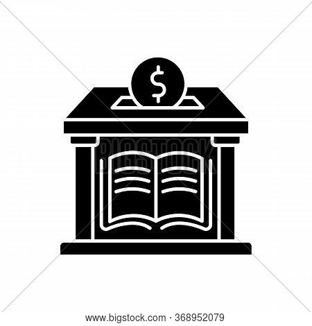 Public Library Donation Black Glyph Icon. Donate Money To Support Free Education. Help Public School