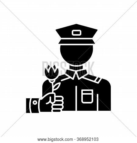 War Veterans Charity Black Glyph Icon. Help For Army Soldier. Social Help For Served Marines. Campai