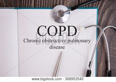 Book With Diagnosis Chronic Obstructive Pulmonary Disease Copd . Medic Concept.