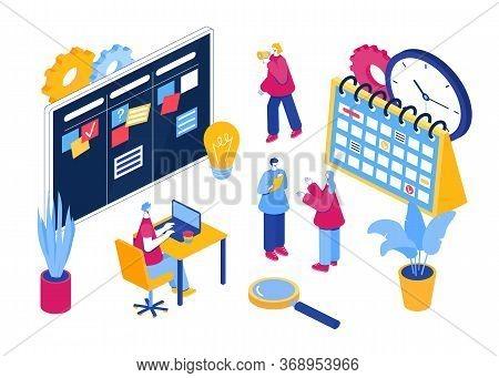 Agile Project Management Process. Communication, Teamwork, Business Process.