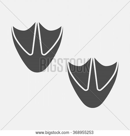 Duck Step Icon. Duck Paw Icon Isolated On White Background. Vector Illustration.