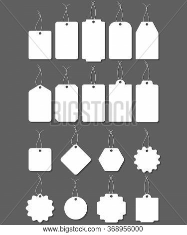Blank White Paper Price Tags Or Gift Tags In Different Shapes. Blank Labels Template. Price Tags Set
