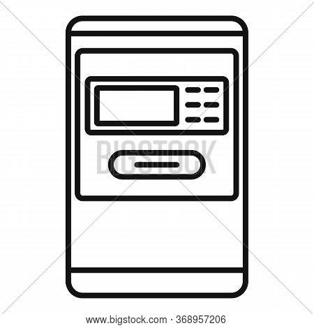 Airport Atm Machine Icon. Outline Airport Atm Machine Vector Icon For Web Design Isolated On White B